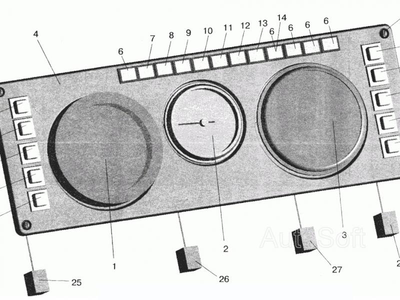 Панель щитка приборов (спидометр тахометр), большая - Фото